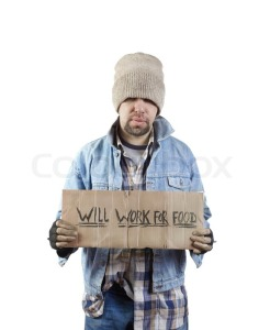 homeless white man will work for food
