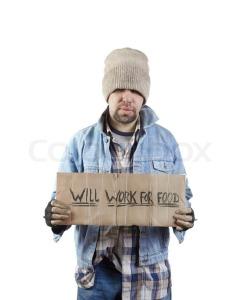 homeless white man will work for food